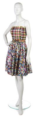 A Todd Oldham Multicolor Woven Ribbon and Silk Cocktail Dress