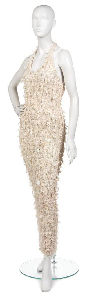 A Joan Vass Ivory Silk Knit Racerback Dress