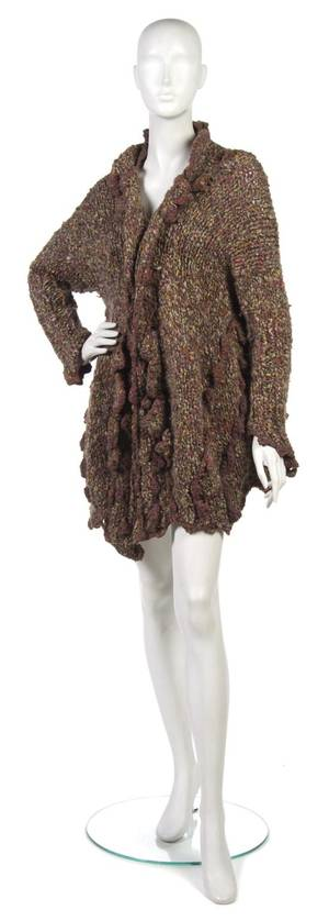 A Joan Vass Brown Mulitcolored Knit Sweater