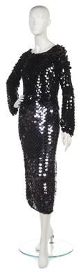 A Joan Vass Black Paillette Knit Top