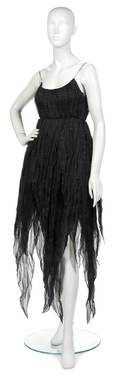 A Joan Vass Black Silk Chiffon Evening Dress