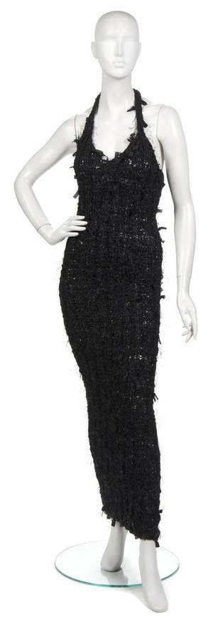 A Joan Vass Black Ribbon Knit Racerback Maxi Dress