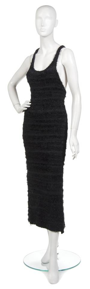 A Joan Vass Black Knit Racerback Maxi Dress
