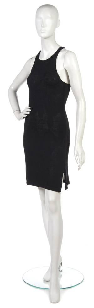 A Joan Vass Black Knit Racerback Dress