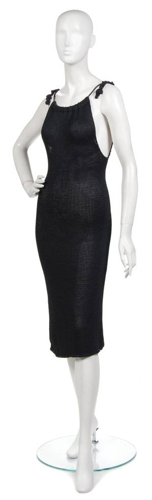 A Joan Vass Navy Blue Knit Drawstring Sheath Dress
