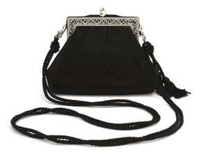 A Judith Leiber Black Satin Evening Bag