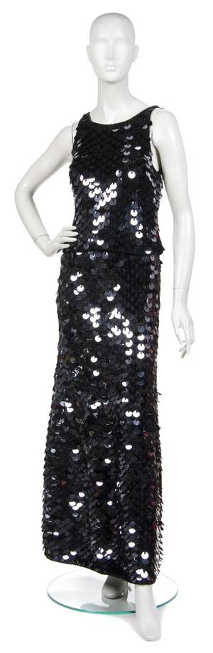 A Joan Vass Black Knit and Paillettes Ensemble