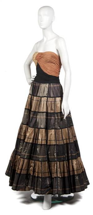 A Carven Bronze Brown and Black Evening Gown