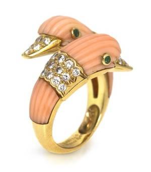 An 18 Karat Yellow Gold Coral Emerald and Diamond Ring Van Cleef  Arpels Circa 1965