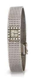 A 14 Karat White Gold and Diamond Wristwatch Omega