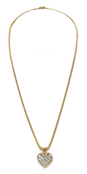 An 18 Karat Yellow Gold and Diamond Heart Pendant Necklace