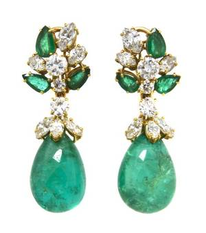 A Pair of 18 Karat Yellow Gold Diamond and Emerald Earclips with Detachable Pendants Circa 1950