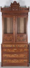 A Victorian Burl Walnut Bookcase