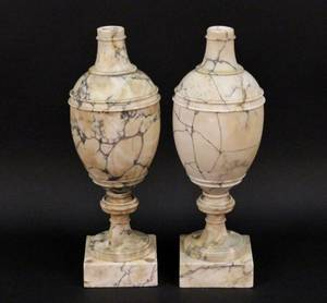 Pair of Large Alabaster Urns