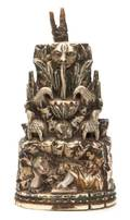 A Continental Carved Polychrome and Gilt Decorated Ivory Figural Group