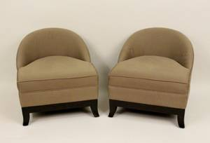 Pair of Contemporary Short Upholstered Chairs