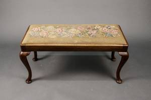 Queen Anne Style Walnut Needlepoint Bench