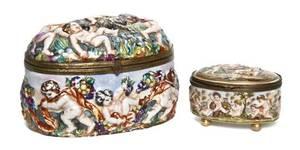 A Capodimonte Porcelain Table Casket