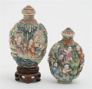 A Group of Two Molded Porcelain Snuff Bottles