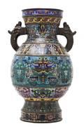 A Cloisonne Double Handled Baluster Vase