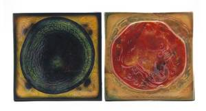 Two Studio Glass Tiles in the manner of Tiffany Studios