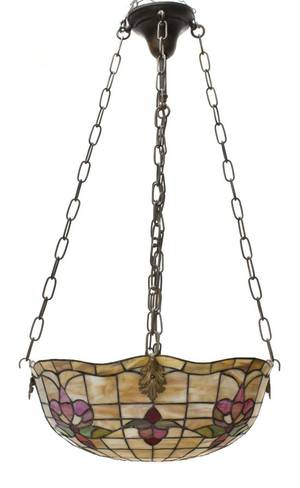 An American Leaded Glass Hanging Fixture