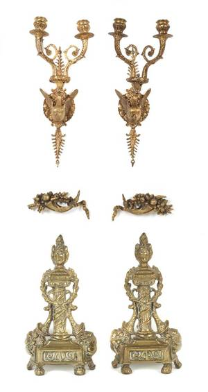 A Pair of Empire Gilt Bronze Style Sconces