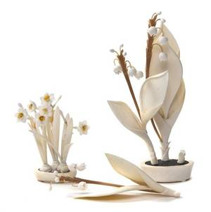 An Ivory Carving of a Flowering Plant