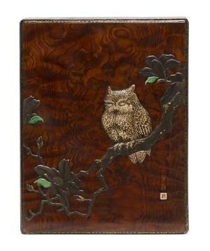 A Japanese Inlaid Burlwood Suzuribako Writing Box Likely Ritsuo