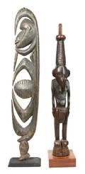 A Group of Two Carved Wood Figures New Guinea