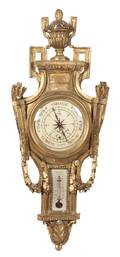 A French Giltwood Barometer Thermometer