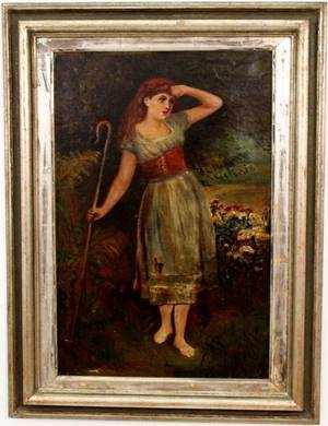 British Oil on Canvas Painting of Shepherdess
