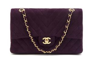 A Chanel Purple Suede Bag
