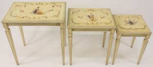Nest of Three Italian Paint Decorated Tables