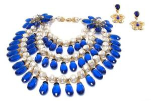 A Daniele Cornaggia Blue and Pearl Beaded Multistrand Necklace