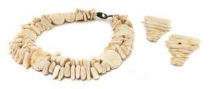 A Gerda Lynggaard for Monies Faux Ivory Multistrand Necklace with Matching Earclips