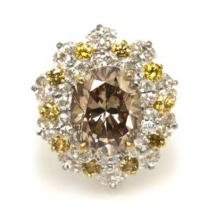 An 18 Karat Yellow Gold Diamond and Fancy Orange Brown Diamond Ring Oscar Heyman Brothers