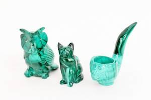 Group of Three Carved Malachite Animal Items