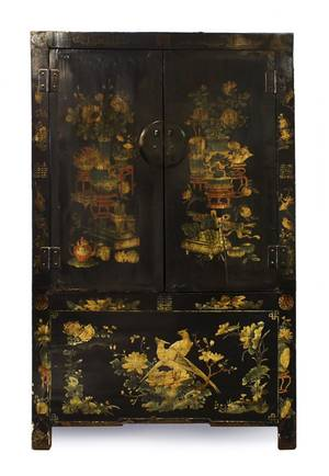 An Asian Lacquered Wood Armoire