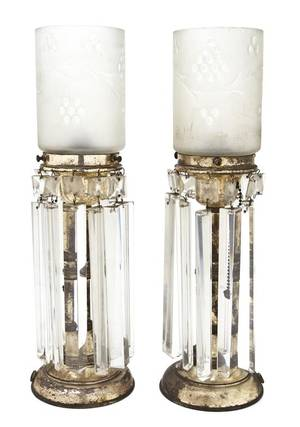 A Pair of Silvered Metal and Etched Glass Girandoles