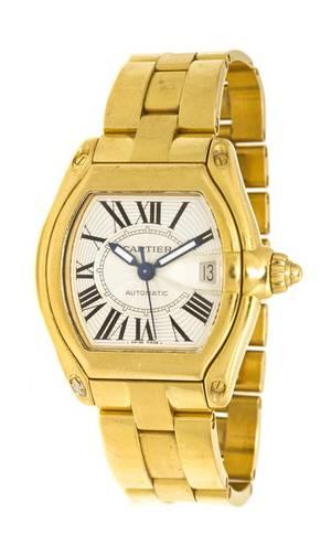 An 18 Karat Yellow Gold Ref 2524 Roadster Wristwatch Cartier