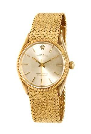 An 18 Karat Yellow Gold Ref 1005 Oyster Perpetual Wristwatch Rolex