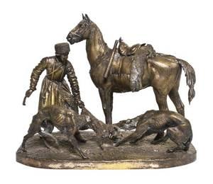 A Russian Parcel Gilt Bronze Figural Group Nikolai Alexandrov Lieberich 18281883