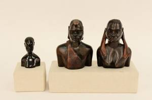 Three African Wood Carved Busts