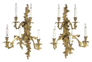 A Pair of Louis XV Style Gilt Metal FiveLight Sconces