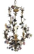 A French Porcelain Mounted ThreeLight Chandelier