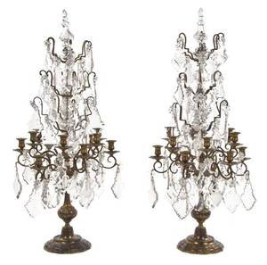 A Pair of Continental Gilt Bronze TwelveLight Candelabra