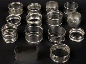 Group of 14 Sterling  Plated Napkin Rings