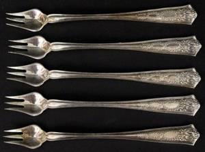 Set of 5 Tiffany  Co Sterling Cocktail Forks