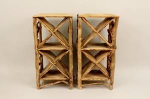 Pair of Rustic Wooden Wine Racks